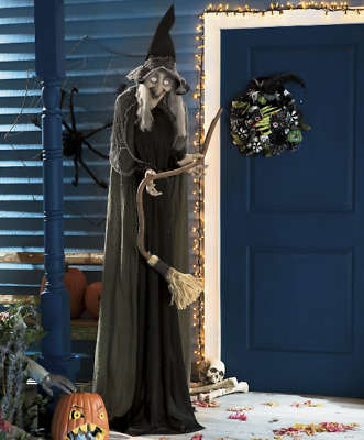 "Huge Animated Witch Halloween Decoration 6' 8"" Life Size Scary Standing Prop"