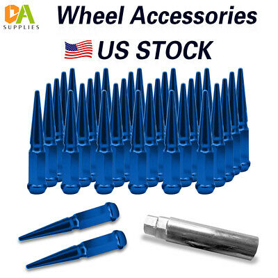 CA Supplies 32pc Spike Lug Nut 14x2 Blue 4.4 Tall Offroad Extended Metal Lugs Premium
