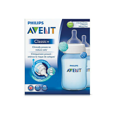 NEW Avent Blue Feeding Bottle Twin - 260ml