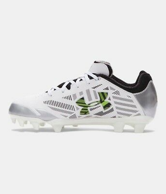 Women's Under Armour Finisher II MC Lacrosse Cleats - White/Silver/Lime - NIB!