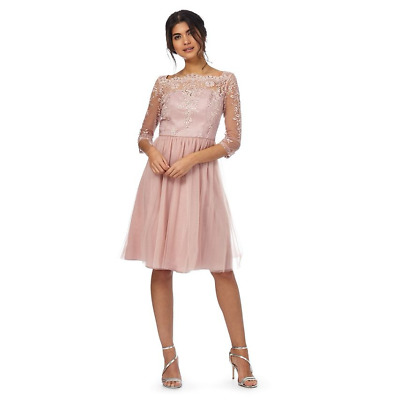 598efb383e0fc Chi Chi London Floral lace Embroidered Sleeves Dress 8 10 12 14 16 Pink
