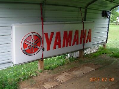 Dealers Yamaha sign 4' x 12'. Good condition. Motorcycle.Light can be installed