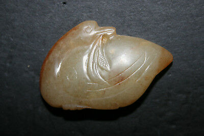 Old Carved Chinese Jade Toggle Swan Multi-Tone Brown/Beige Free Standing
