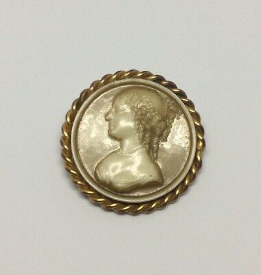 Beautiful Vintage, Victorian Style, Ceramic and Yellow Metal Cameo Brooch/Pin