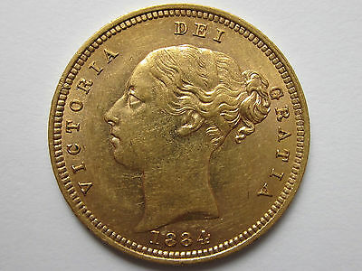 1884 M Gold Half Sovereign : Ext Rare Young Victoria Head ** V.High Grade