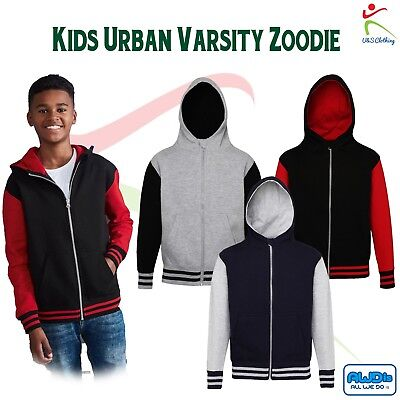 KIDS URBAN VARSITY ZOODIE Boys Girls Contrast College American Baseball Hood TOP