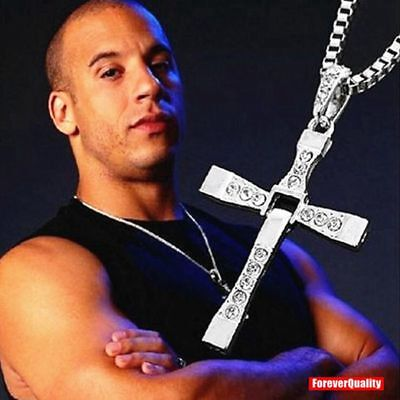 Fast and Furious Movie Dominic Toretto's Silver Cross Chain Necklace Pendant