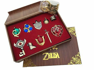 The Legend of Zelda Triforce Hylian Shield & Master Sword Keychain/necklace/