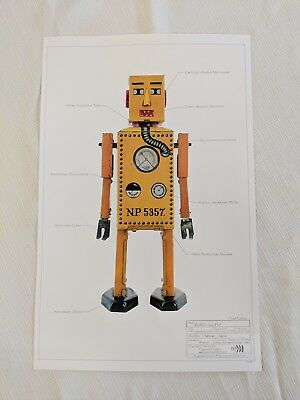Poster - 11x17 - Vintage Yellow Metal Robot Toy with descriptions