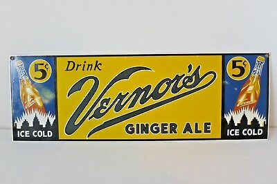 VERNOR'S GINGER ALE Porcelain Advertising Sign Made USA Ande Rooney