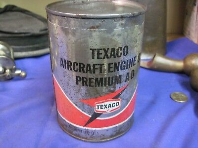 TEXACO AIRCRAFT ENGINE MOTOR oil QT can ORIGINAL MEDAL steel GAS SERVICE STATION