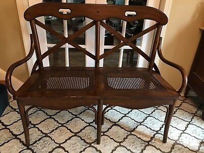 Vintage Bentwood & Cane Settee Bench