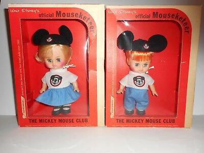 Vintage Walt Disney Mickey Mouse Club Official Mouseketeers 2 Doll Set Mint +++