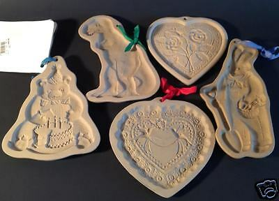 Lot of 5 Retired Brown Bag Cookie Molds T-Rex Hearts Rabbit Teddy Bear Easter