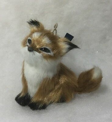 Fox Woodland Animal Christmas Tree Ornament. Faux Fur