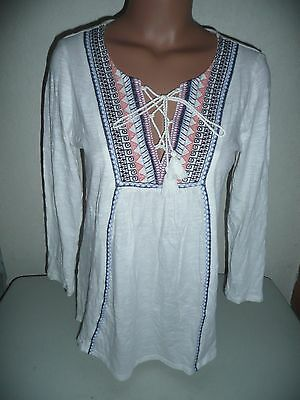 Nwt Lucky Brand Lace Up Embroidered Boho Peasant Top Blouse White Medium