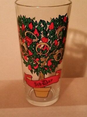 "PEPSI 12 Days Of Christmas Tumbler Glass 6 1/4"" 5th Day 5 Five Gold Rings"