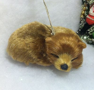 Woodland Bear sleeping  Faux Fur Christmas Tree Ornament