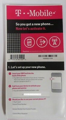 Lot Of 100 Brand New Prepaid T-Mobile Activation Codes Cards