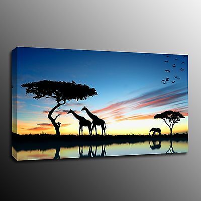 Giraffe Canvas Prints Modern Home Decor Animal Wall Art Picture Tree Photo