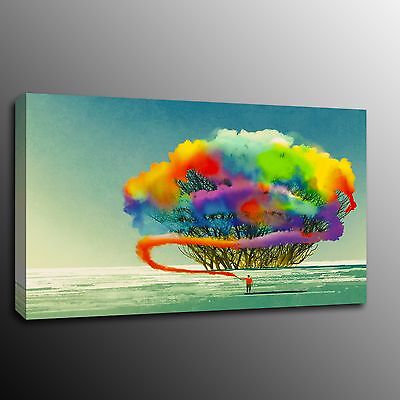 Abstract Colour Tree Giclee Canvas Print Wall Art Home Decor Oil Painting Poster