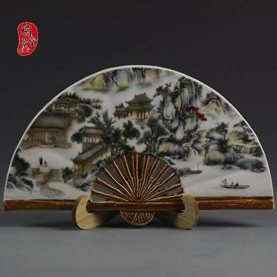 China Old jingdezhen Hand painting Colour House Mountain Fan Porcelain statue