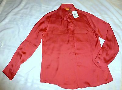 Joe Fresh Womens Blouse Button Shirt M NWT Dark Coral Solid Long Sleeve Collar