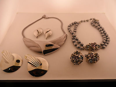 2 Mid Century Necklace And Earring Sets & Pair Of Large Super Art Deco Earrings