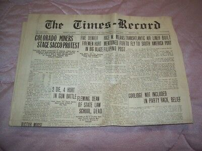 Thursday Evening Aug 9,1927 The Cripple Creek Times And Victor Daily Record