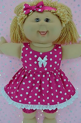 """Play n Wear Doll Clothes For 16"""" Cabbage Patch POLKA DOT DRESS~BLOOMERS~HEADBAND"""