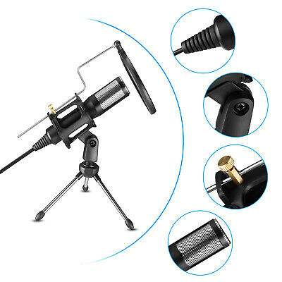 USB Condenser Studio Sound Recording Microphone Mic + Tripod Stand for Game Chat