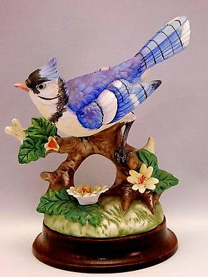 Josef Originals Porcelain Bird Bisque Porcelain Wood Base Blue Jay