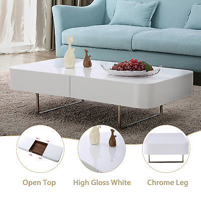 HIGH GLOSS WHITE Coffee Table w/ Center Storage Space ...