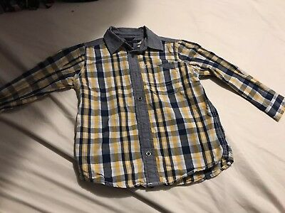 Tommy Hilfiger Long Sleeve Striped Yellow White Blue Shirt 3T Boy Toodler