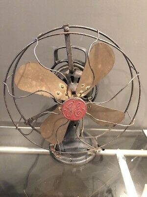 ANTIQUE VINTAGE CIRCA 1920's GE GENERAL ELECTRIC 16 OSCILLATING BRASS BLADE FAN