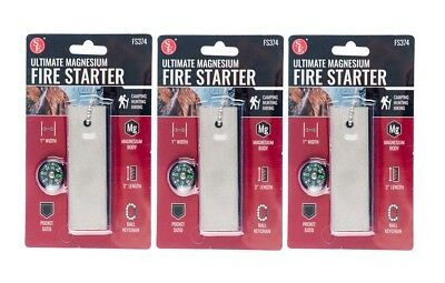 3 Pack Solid Magnesium Survival Fire Starter Kit Military Grade Flint Striker