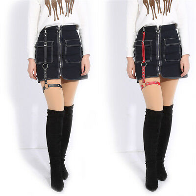 Fashion PU Leather Garter Belt Leg Ring Thigh Harness with Strap for Short Skirt
