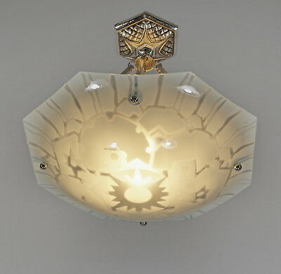 LOYS LUCHA : FRENCH 1930 ART DECO CHANDELIER ............. suspension lamp lampe