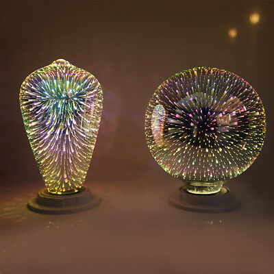 LED 3D Colorful Fireworks E27 Retro Vintage Edison Glass Fairy Light Bulb Decor