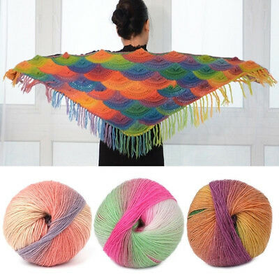 1 Ball 50g Hand-woven Rainbow Colorful Crochet Cashmere Wool Blend Yarn Knitting