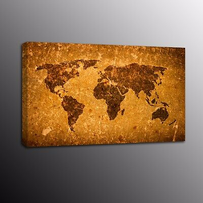 Canvas Print Antique World Map Painting Poster Wall Art For Home Decor Picture