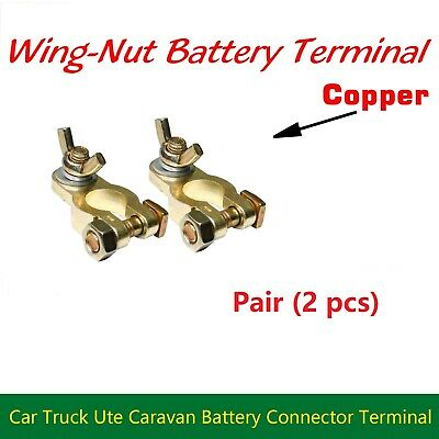 Copper Wing Nut Battery Terminals Positive Negative Brass Connector Heavy Duty