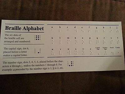 Braille Alphabet Embossed Cards Bundle of 10 Education Blind Reading Literacy