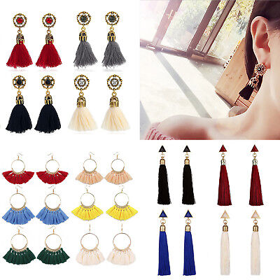 Women Fashion Bohemian Earrings Long Tassel Fringe Boho Dangle Studs Jewelry