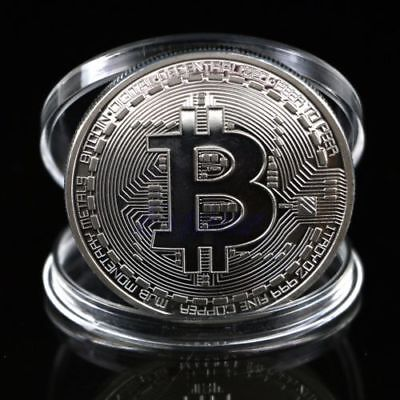 1x Silver Bitcoin Commemorative Round Collectors Coin Bit Coin is Plated Coin