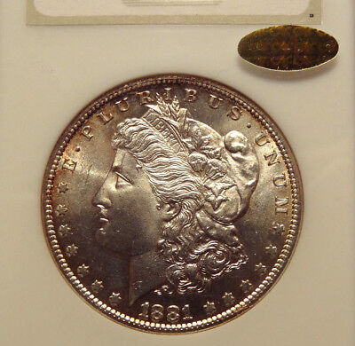 1881 S Morgan Silver Dollar, Ngc Ms 63, Old Fatty Holder, Gold Cac ! Great Coin