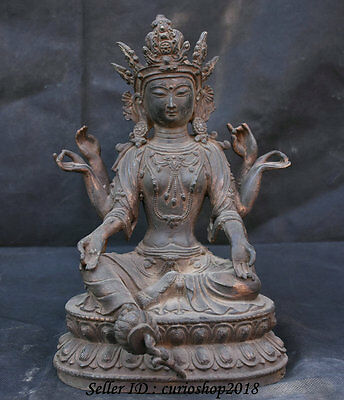 Old Tibet Tibetan Purple Bronze 6 Hands Arms Green Tara Guanyin Goddess Statue