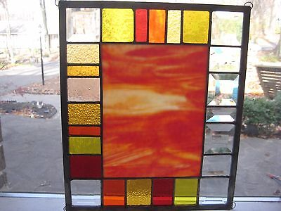FIERY FALL stained glass panel window suncatcher OOAK  Lovely autumn colors!!