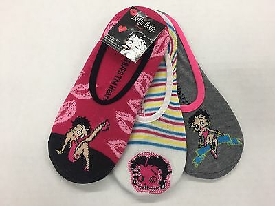 Betty Boop Foot Liners Footies Slippers Size 9-11 3 Pairs (NEW)