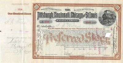 Pittsburgh cincinnati chicago and St Louis railroad compagny 1894 certificate